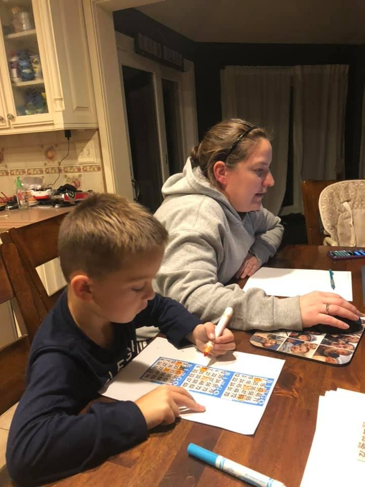 Family Participating in Zoom Virtual Bingo Charity Event
